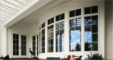 Andersen 400 Series Casement Windows with Transom and 400 Series Frenchwood Hinged Patio Doors