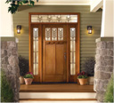 ThermaTru Exterior Wooden Craftsman Deco Glass Door with Transom and Side Panel Glass SM